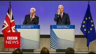 """The EU's chief Brexit negotiator has urged the UK for more """"clarity"""" on where it stands on key issues such as citizens rights and the """"divorce bill"""".Michel Barnier said progress had been made in talks with David Davis in areas where the UK position was clear.But there were still differences on how citizens' residence rights will be """"guaranteed"""" and how it will maintain the common travel area in Ireland.He was speaking at a media conference at the end of the second week of talks. Please subscribe HERE http://bit.ly/1rbfUogWorld In Pictures https://www.youtube.com/playlist?list=PLS3XGZxi7cBX37n4R0UGJN-TLiQOm7ZTPBig Hitters https://www.youtube.com/playlist?list=PLS3XGZxi7cBUME-LUrFkDwFmiEc3jwMXPJust Good News https://www.youtube.com/playlist?list=PLS3XGZxi7cBUsYo_P26cjihXLN-k3w246"""