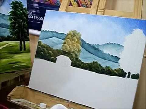 Como pintar árvores e vegetação que ficam em segundo plano na paisagem - Ariane Cerveira