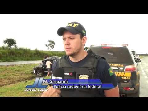 JATAÍ | Veículo capota e motorista fica lesionado