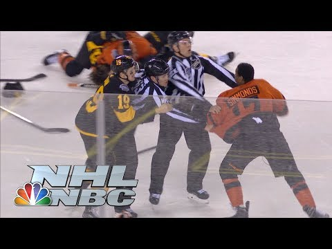 Video: Flyers' Wayne Simmonds lays out Penguins' Brian Dumoulin, brawl ensues | NHL | NBC Sports