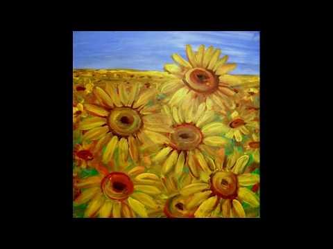 Sonnenblumen malen acryl. Sunflowers painting.