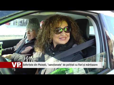 """Șoferițele din Ploiești, """"sancționate"""" de polițiști cu flori și mărțișoare"""