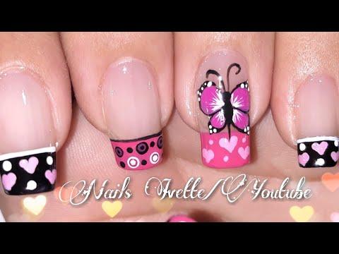 Decoracion de uñas - Decoración de uñas en color rosa/Diseño de uñas mariposa/Diseño de uñas con francés