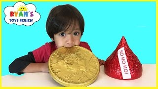 GIANT CHOCOLATE CANDY taste test! Hershey's Kiss, Gold Coins, Peanut Butter Cups Candy Review full download video download mp3 download music download