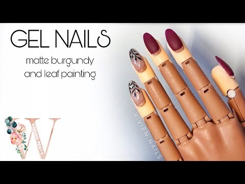 Matte burgundy and leaf painting [GEL NAILS]
