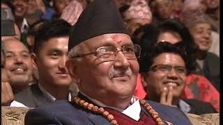 Manoj Gajurel and Sitaram Katel 'Dhurmus' with their mimicry of Prachanda and KP Oli