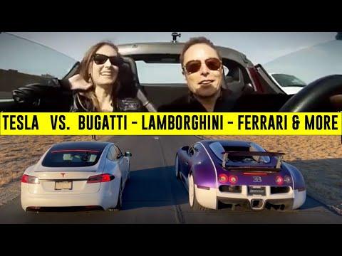 Tesla vs. SuperCars Drag Race gathering ! Does Elon Musk's TESLA acceleration really unbeatable ?