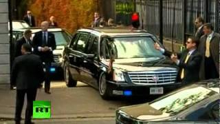 US President Barack Obama's visit to Ireland got a little bumpy on Monday, after his armoured limousine got stuck as it tried to ...