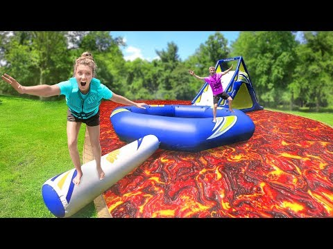 Last To Fall Floor is Lava Backyard Inflatable Obstacle Course Challenge!!