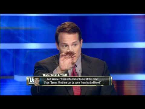 Famer - Skip Bayless, Eric Mangini and Chris Broussard discuss Kurt Warner's comments that Eli Manning isn't a Hall of Famer at this time. Watch more videos like thi...