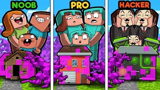 Minecraft - BACTERIA FAMILY HOUSE CHALLENGE! (NOOB vs PRO vs HACKER)