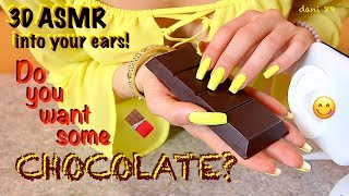 Finally, by popular demand I've done a NEW super intense ASMR vid with my new POPmic and... CHOCOLATE!!!! 🍫 For 37 minutes you can hear real clear sound into your ears: SCRATCHING, TAPPING, WHISPERING (ita), SOFT SPOKEN, MOUTH SOUND and EATING this bar of chocolate! 😋😍 (NEW TRIGGER with SUGAR GRANULES sound!) ❣️ 💛 [today in yellow theme] ...I hope you like it and enjoy it for your relaxation! 💤💋💋💋Suggestions are always welcome!!! ...PLEASE leave me comments, share this video with your friends, write me and subscribe on my channel! ♥ I'll really appreciate it!THANK YOU SO MUCH! ❤️I want to make high quality video, with special items and perfect sound, but to do that I also need you!I need your support to be able to buy new tools, particularly new professional microphones (I'd like   3 D i o  microphone!)!!I need your support to improve and grow more and more and at the same time to offer products of higher quality and amazing!I hope to have a helping hand from you who support me and believe in me! Each month I'll publish for you new videos...10-11 at least!The ASMR is a wonderful world that must be supported, especially here in Italy, where it still is not well known. The ASMR gives countless benefits to the people, can help stress, depression, anxiety, sadness. etc.I'll do everything to make you feel better and help you relax! 💤 ----------------------------------------SUPPORT MY CHANNEL----------------------------------------✦ SUPPORT ME with PAYPALif you want help me to improve the quality of this channel:https://www.paypal.com/cgi-bin/webscr?cmd=_s-xclick&hosted_button_id=JLDPTT9GLDES4Thank you very much for your generosity and kindness ❤️✦ PATREON: https://www.patreon.com/dani89---------------------FOLLOW ME---------------------✦ FACEBOOK dani 89: https://www.facebook.com/dani89longnaturalnails✦ INSTAGRAM: https://www.instagram.com/dani89_officialpage/✦ (second channel YouTube) dani ASMR: https://www.youtube.com/channel/UChR0iHoF8N_KRrIyhH-Plig---------------------------------------------------------------For BUSINESS and PRIVATE INQUIRIES---------------------------------------------------------------✎ If you want me to try your products or for any other request, please contact me on ✉ daniela.uptodate@gmail.com