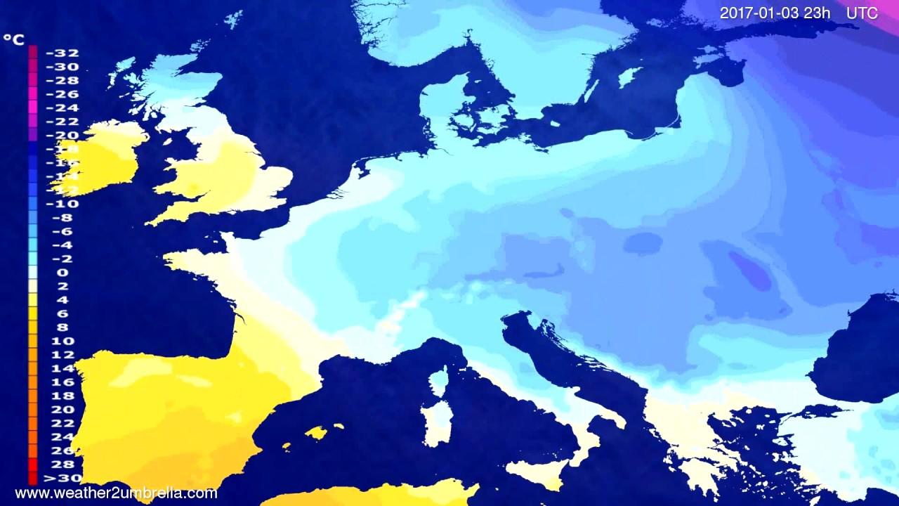 Temperature forecast Europe 2016-12-31