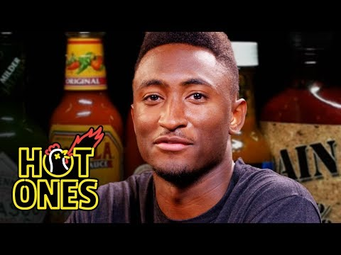 Marques Brownlee Ranks Hot Sauce Labels While Eating Spicy Wings | Hot Ones