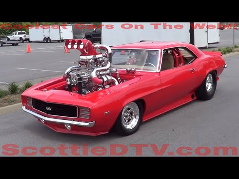 supercharger - A 1969 Camaro SS with Twin Turbos and a Super Charger...and a 200 shot of Nitrous..Horse power is unknown...but it is the most over the top Car I have ever s...