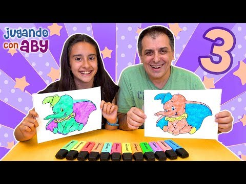 Videos de uñas - 3 MARKER CHALLENGE. Dumbo y Aladdin en colores fosforitos