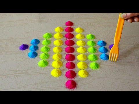 Easy Color Rangoli Designs For Diwali 2020   Easy Deepavali Kolam Designs   Dussehra Rangoli Easy
