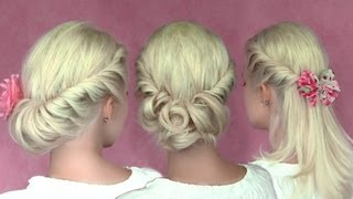 Romantic updo hairstyles for New Year's eve for medium long hair tutorial - YouTube