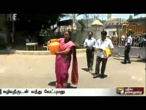 Independent-candidate-files-nomination-with-drainage-water-at-Erode