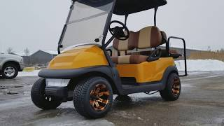 10. CLUB CAR PRECEDENT ELECTRIC GOLF CART WITH CUSTOM RIMS TIRES RADIO 4 SEATER