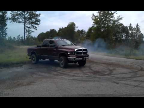 Twin turbo Dodge 3500 cuts a few donuts