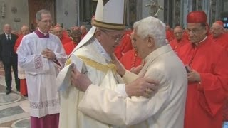 Former Pope Benedict XVI makes surprise appearance at cardinal ceremony