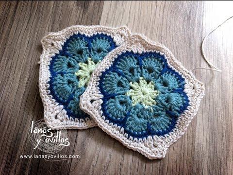 cuadritos a crochet - http://www.lanasyovillos.com Tutorial de cómo hacer este granny square paso a paso en español. Encuentra este patrón y muchos más en http://www.lanasyovillos...