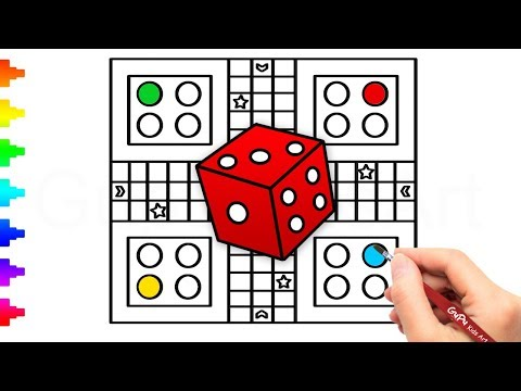 Ludo Board Game Drawing and Coloring   How to Draw a Ludo Game Board