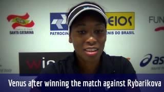 Venus Williams comenta vitória sobre Rybarikova em Florianópolis