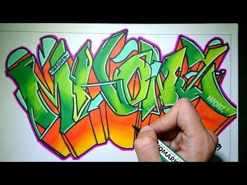Drawing Graffiti on paper - Maonz