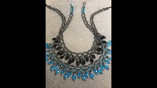 Join me on Facebook: http://www.Facebook.com/BronzeponyBeadedJewelryCorrection: The Blue closure bead on the Aqua necklace is from the May Dollar bead Box. It is an 8mm Hex cut Firepolish Blue Opal bead.Materials: Make sure you have some extra especially if you are adjusting the size of your necklace.For a 19 1/2 inch Necklace you will need approximately:Aquamarine:27 - 10x5mm Teardrop Crystals - Aquamarine61 - 4mm Crystal  Bicones - Aqua48 - 4mm Crystal Bicones - Swarovski Crystal Silver Night40 Hematite Round Gemstone Beads120 - 3mm Bicones - Swarovski Crystal Silver NightI - 16 inch strand - 1x2mm Hematite Silver Heishi Beads or 11/0 Seed Beads or Toho 11/0 Demi Round Beads15/0 Seed Beads1 - 8mm Round Hex Cut Crystal Bead - From May Dollar Bead Box - Blue OpalSize 11 Beading needleWildfire Beading Thread or 6Lb FirelineStop BeadRuby Red Version:4mm Jet Bicones 4mm Bicones Swarovski Siam Satin3mm Bicones Swarovski Crystal Silver Night8mm Faceted Crystal Bead - RedEmerald Version:4mm Bicones - Swarovski Emerald Green4mm Bicones - Swarovski Crystal Silver Night3mm Bicones - Swarovski Cryatal Silver Night8mm Faceted Crystal bead - EmeraldJet Version:4mm Biconed - Swarovski Jet or Crystal Silver Night4mm Bicones - Swarovski Jet or Crystal Silver Night3mm Bicones - Jet or Crystal Silver Night8mm FacetedCrystal bead - Jet