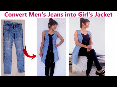 DIY: Convert/ Reuse/ Recycle Men's Old Jeans into Girl's Jacket/ Diy Girl's denim jacket