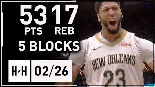 Anthony Davis MVP Full Highlights vs Suns (2018.02.26) - 53 Points, 17 Reb, 5 Blocks, EPIC!