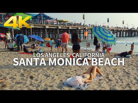 SANTA MONICA - Walking Santa Monica Beach Pier, Los Angeles, California, USA, Travel, 4K UHD