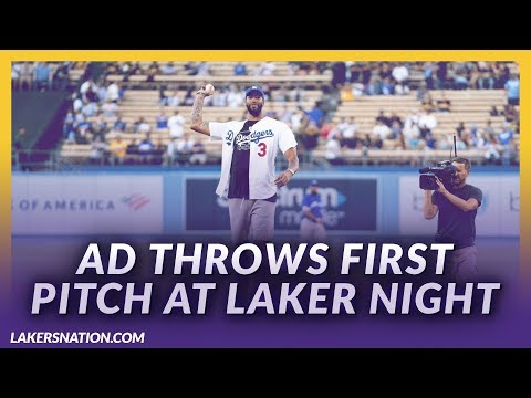 Video: AD Throws First Pitch At Dodger Stadium For Laker Night