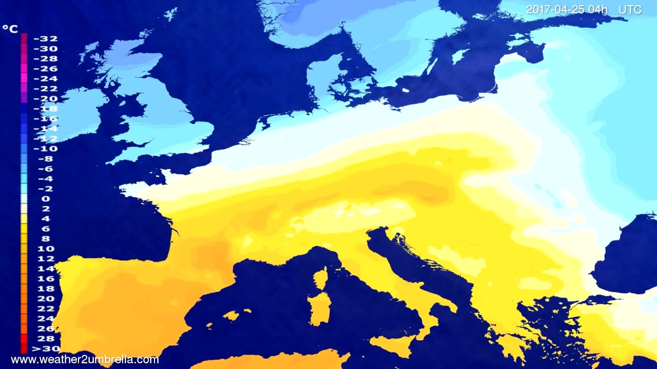 Temperature forecast Europe 2017-04-21
