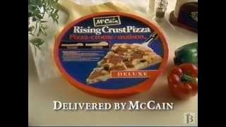 ad for McCain's line of frozen Rising Crust Pizzas.