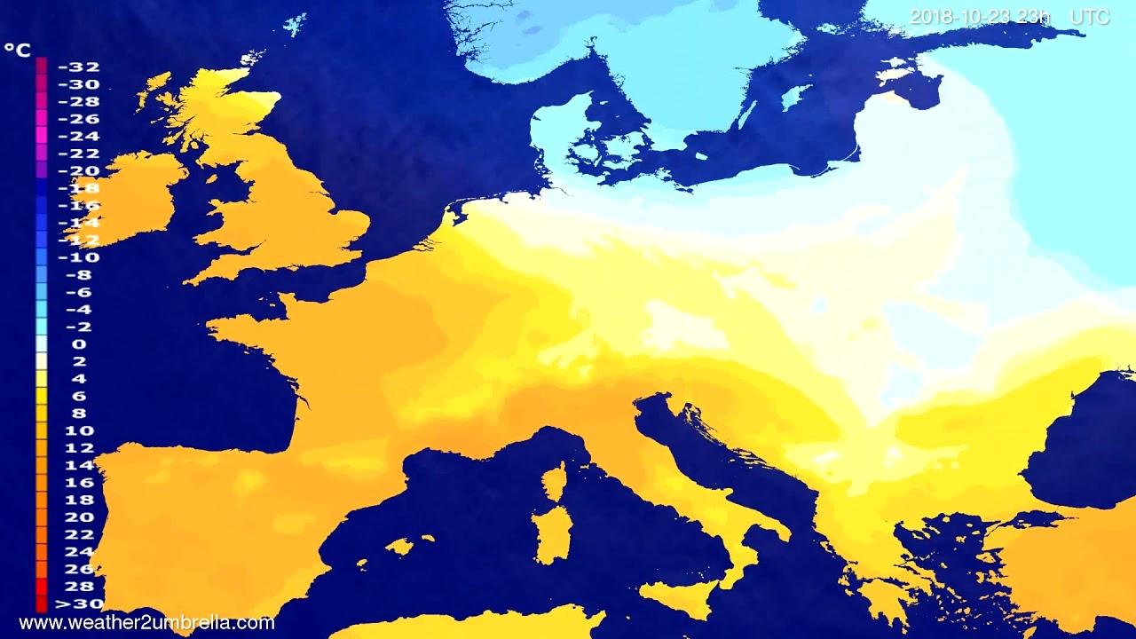 Temperature forecast Europe 2018-10-20