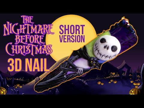 Gel nails - HALLOWEEN NAIL ART - JACK SKELLINGTON - SHORT VERISON