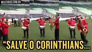 Num evento no Allianz Parque, músicos tocaram o hino do Corinthians no estádio do Palmeiras