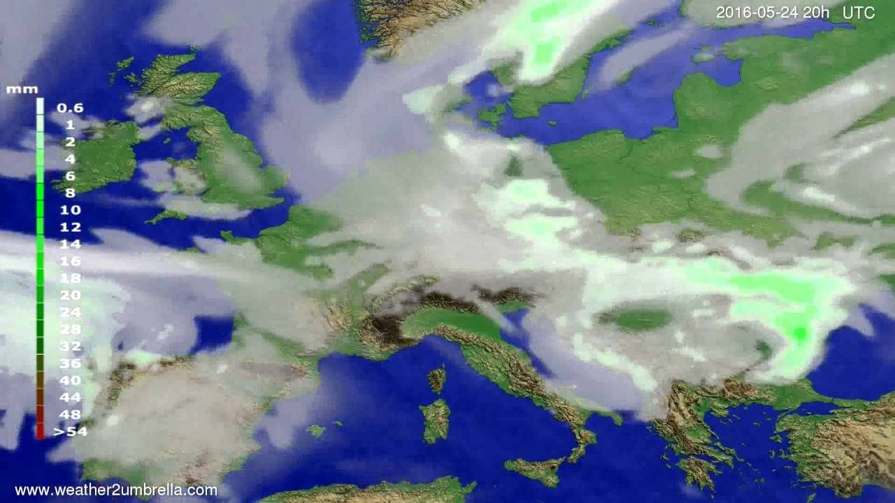 Precipitation forecast Europe 2016-05-22