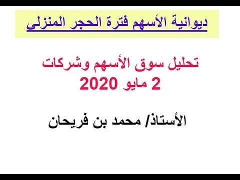 قراءة لتصريح وزير المالية وتحليل سوق الأسهم 2-5-2020