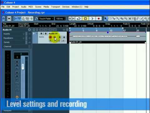Cubase  Tutorial 1 – Recording Audio