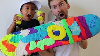 Today we make a skateboard covered with Play-Doh grip tape and skate with 4 year-old-shredder Zachariah Sanchrez (Instagram: @zachariahsanchez). Hope you guys enjoy this video and for more videos like this, click here: https://www.youtube.com/playlist?list=PLjpsoptsN4KCGW_fghTn6MJBMzyeCJU9DWant to skate the Braille House?  Sign up for our Summer Camp or our Skate night party!  Tickets here:https://www.brailleskateboarding.com/shop/http://www.brailleskateboarding.com/how-to-skateboard/YOU CAN LEARN TO SKATEBOARD! CLICK ABOVE TO GET THE MOST DETAILED HOW TO SKATEBOARD LESSON PLAN EVER MADE!  SKATEBOARDING MADE SIMPLE!Big thanks to Gabe Cruz for his help in editing this video: http://www.youtube.com/braillearmyGET SKATEBOARDING MADE SIMPLE ON iBOOKS! https://itunes.apple.com/us/artist/aaron-kyro/id733499725?mt=11GET SKATEBOARDING MADE SIMPLE ON GOOGLE PLAY https://play.google.com/store/books/details/Aaron_Kyro_Skateboarding_Made_Simple_Vol_1?id=8BEbBQAAQBAJSkateboarding Made Simple on Amazon: https://www.amazon.com/Skateboarding-Made-Simple-Braille-Aaron/dp/B01LYPOIVP/ref=sr_1_1?ie=UTF8&qid=1482278130&sr=8-1&keywords=skateboarding+made+simpleFOLLOW ON SOCIAL MEDIAINSTAGRAM https://instagram.com/brailleskate/FACEBOOK: http://www.facebook.com/BrailleSkateboardingGOOGLE +: https://plus.google.com/107594784940938640430TWITTER: http://twitter.com/#!/BrailleSkateFor general inquiries email contact@brailleskateboarding.comFor business, brand or media inquiries please email jen@brailleskateboarding.comCHECK OUT OUR WEBSITE FOR ALL THE LATEST BRAILLE NEWS AND UPDATES!!! http://www.brailleskateboarding.comTHUMBS UP FOR MORE VIDEOS!PLAYLISTS LINKS FOR MOBILE USERSlearn to skate: http://www.youtube.com/playlist?list=PL34F060CE1BA3E968SKATE SUPPORThttp://www.youtube.com/playlist?list=PL2E1C0A94C6B6CEBB&feature=view_allCLIPPEDhttp://www.youtube.com/playlist?list=PLjpsoptsN4KCS-4mngnS8xM4ZXwpn60NQ&feature=view_allslow motionhttp://www.youtube.com/playlist?list=PLC8009736C487A442&feat