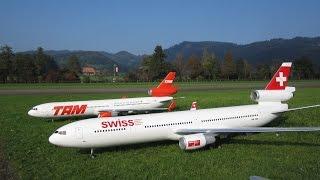Flugtag Hausen 2014 4+5. Oct. Radio controlled McDonnell Douglas MD-11 Swiss und TAM Airline (orgulho de ser Brasileira)...