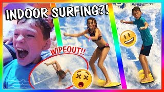 Video CRAZY WATER SLIDES AND SURFING AT THE GREAT WOLF LODGE | VLOG | We Are The Davises MP3, 3GP, MP4, WEBM, AVI, FLV Desember 2018