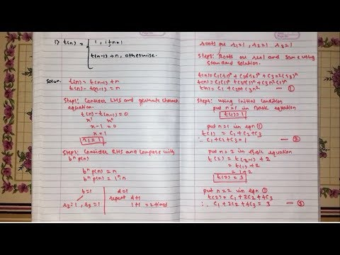 NON Homogeneous Recurrence Relation [Hindi] | DAA | Example 1