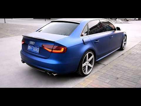 Audi RS4 2.0 TUNING. Wheels, Shock absorbers, Blue chrome vinyl.