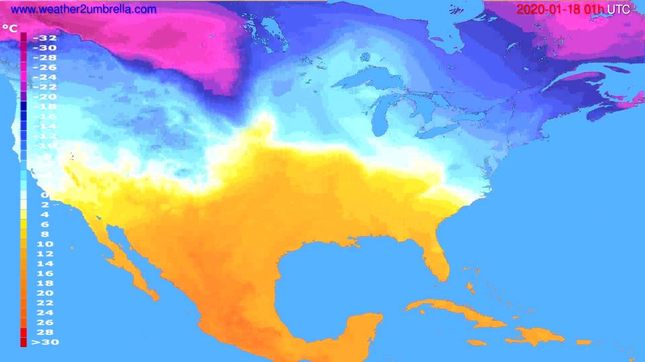 Temperature forecast USA & Canada // modelrun: 12h UTC 2020-01-16