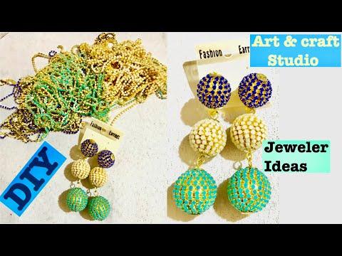 DIY Handmade Diamond Balls Drop Earring, Dangle Earrings, trendy jewelry diy ideas